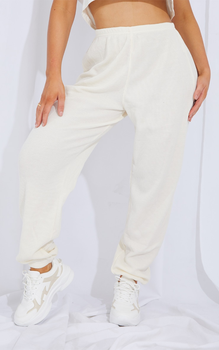 Cream Waffle Textured Casual Joggers 2