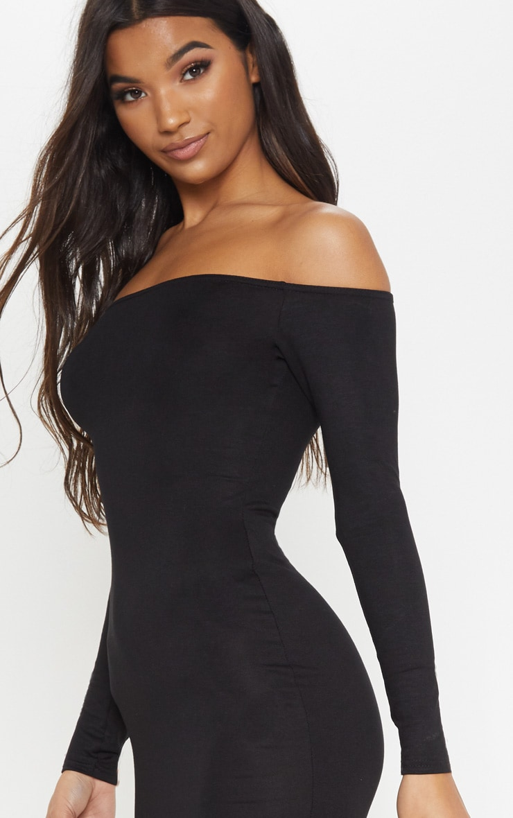 Basic Black Jersey Bardot Midi Dress 5