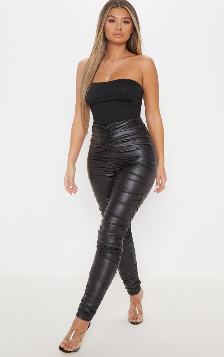 Black Coated Ruched Side Legging 1