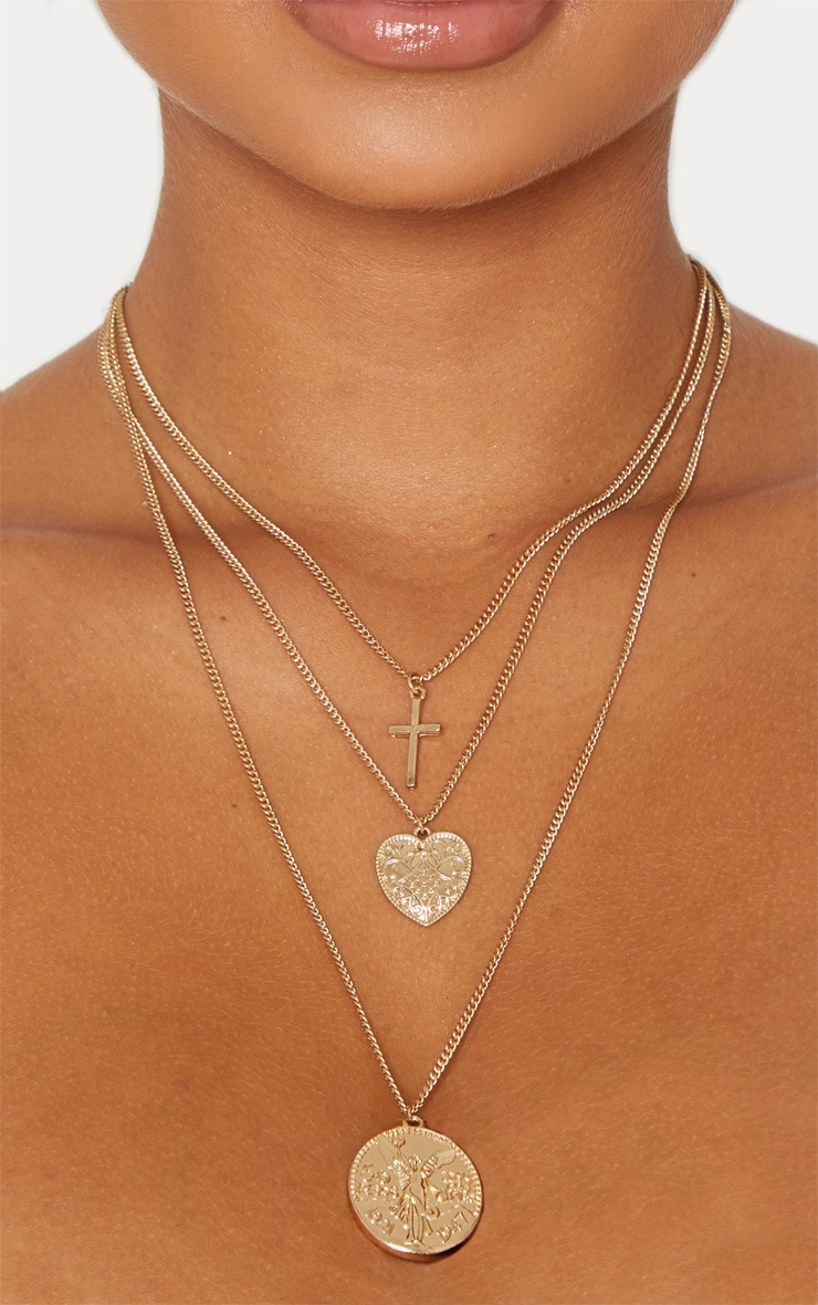 Gold Heart Mini Coin Double Layer Necklace 2