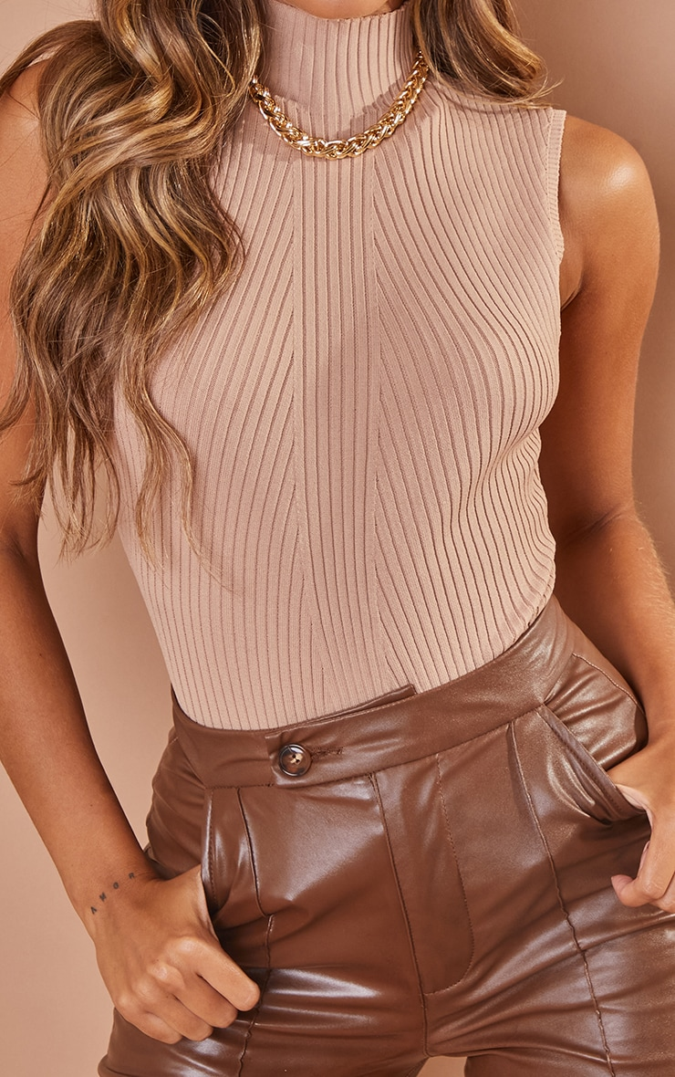 Nude Ribbed Knitted High Neck Bodysuit 4