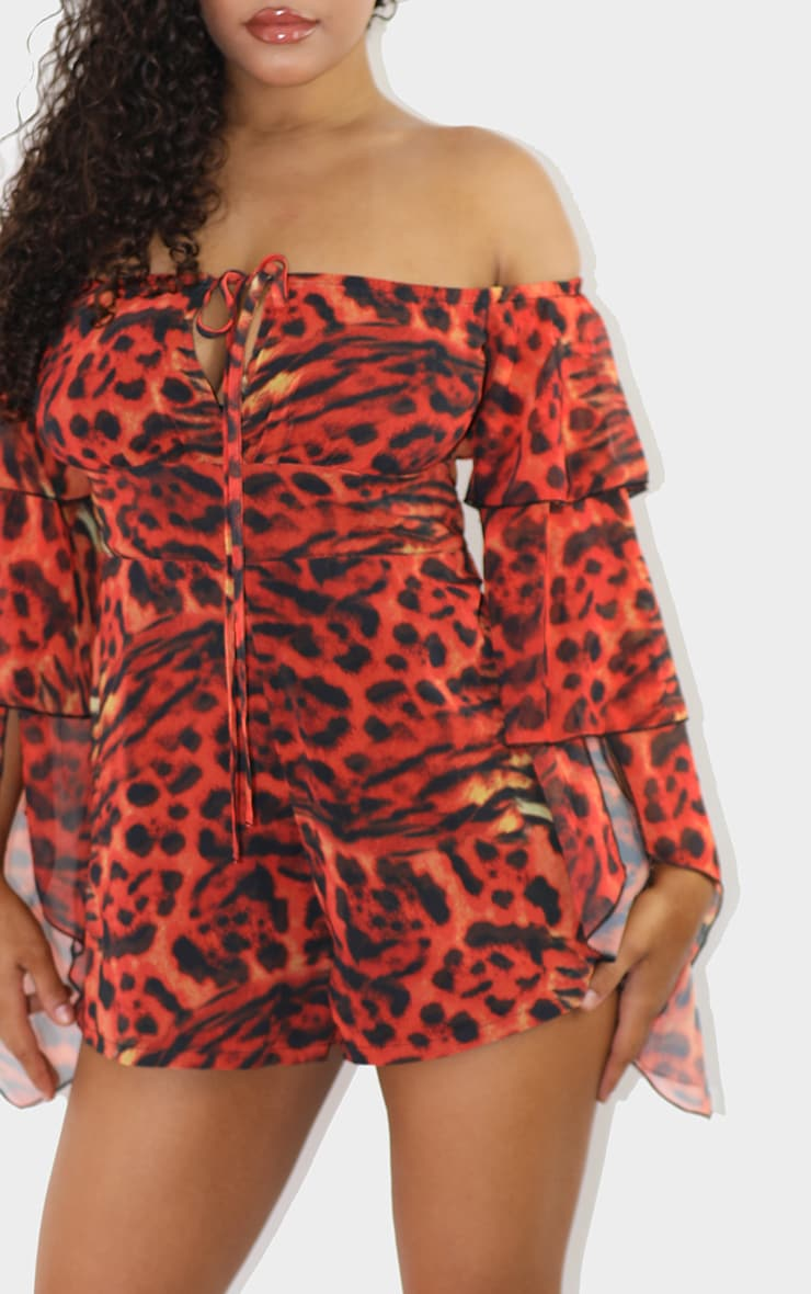 Red Leopard Bardot Ruffle Sleeve Playsuit 4