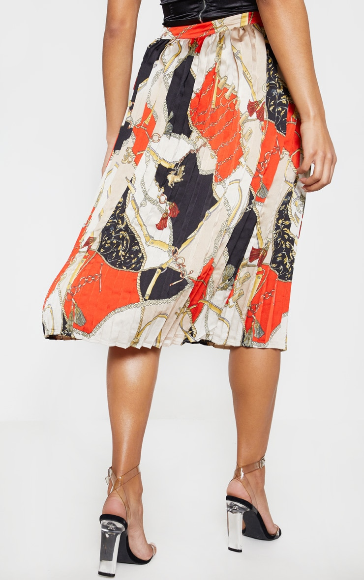 Cream Chain Print Pleated Midi Skirt  4