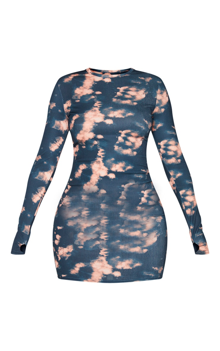 Multi Tie Dye Long Sleeve Thumb Hole Bodycon Dress 5