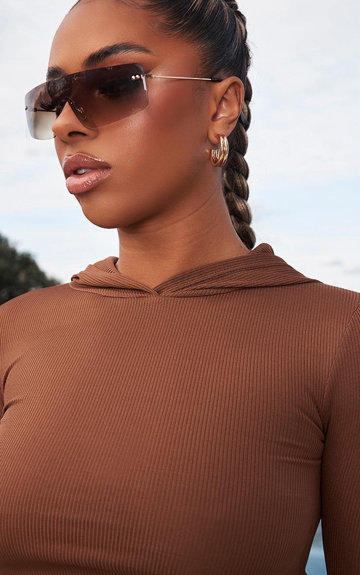 Chocolate Brown Rib Crop Long Sleeved Hoodie 4