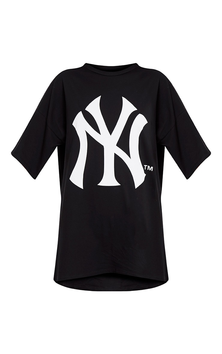 New York Yankees Slogan Black T Shirt Dress 3