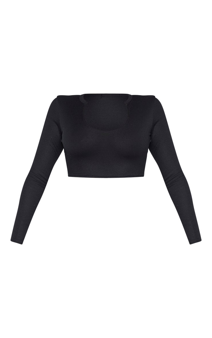 Petite Black V Neck Ribbed Long Sleeve Crop Top 3