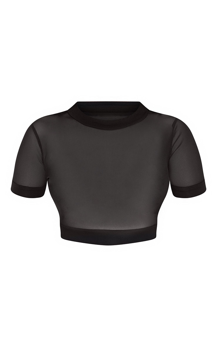 Black Mesh Crew Neck Short Sleeve Crop Top 3