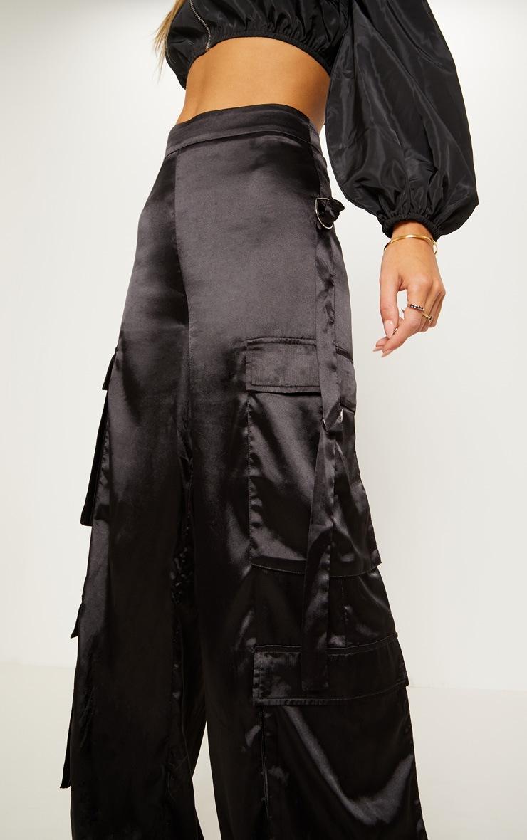 Black Satin D Ring Cargo Wide Leg Trouser 6