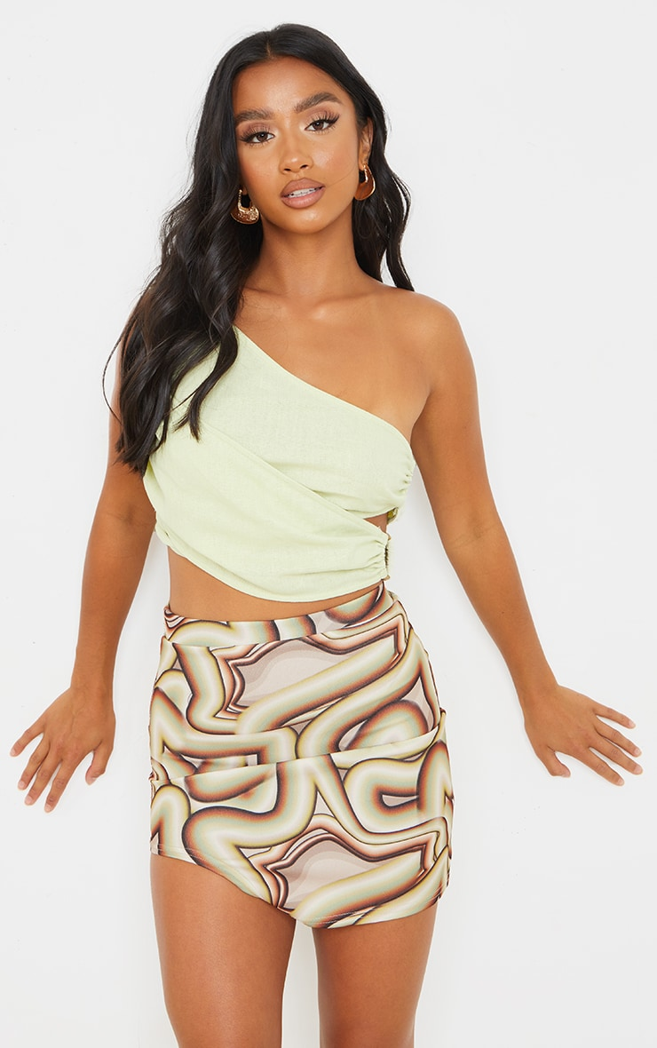 Petite Brown Swirl Print Cut Out Side Skirt 4