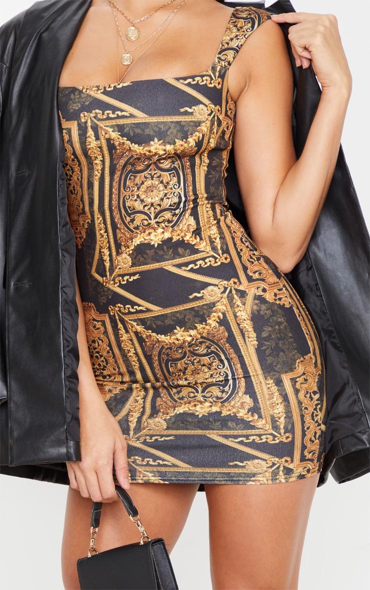 Robe moulante noire imprimé baroque sans manches à col carré 5