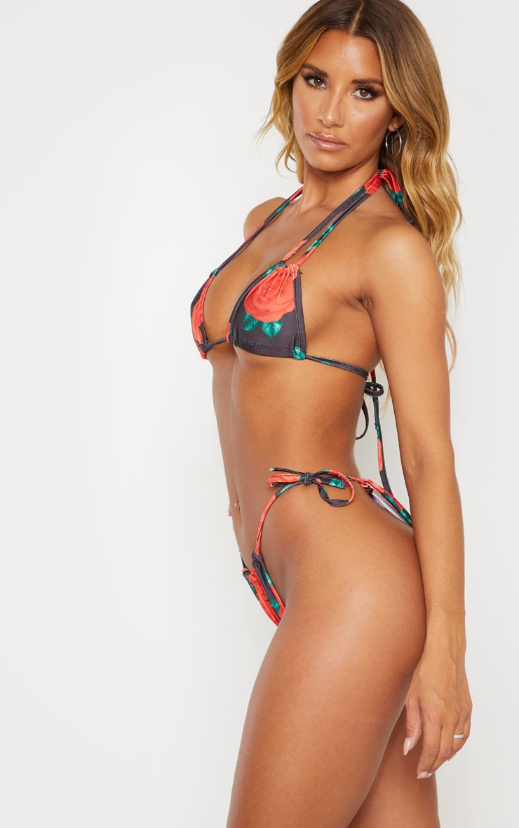 Rose Print Mini Ruched Tie Side Bikini Bottom 2