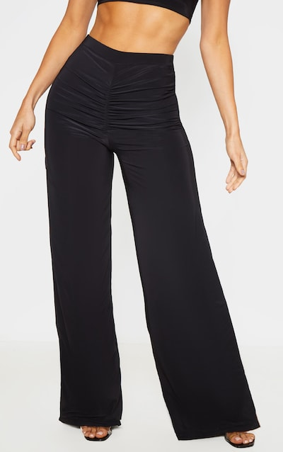 Black Ruched Front Slinky Wide Leg Trousers