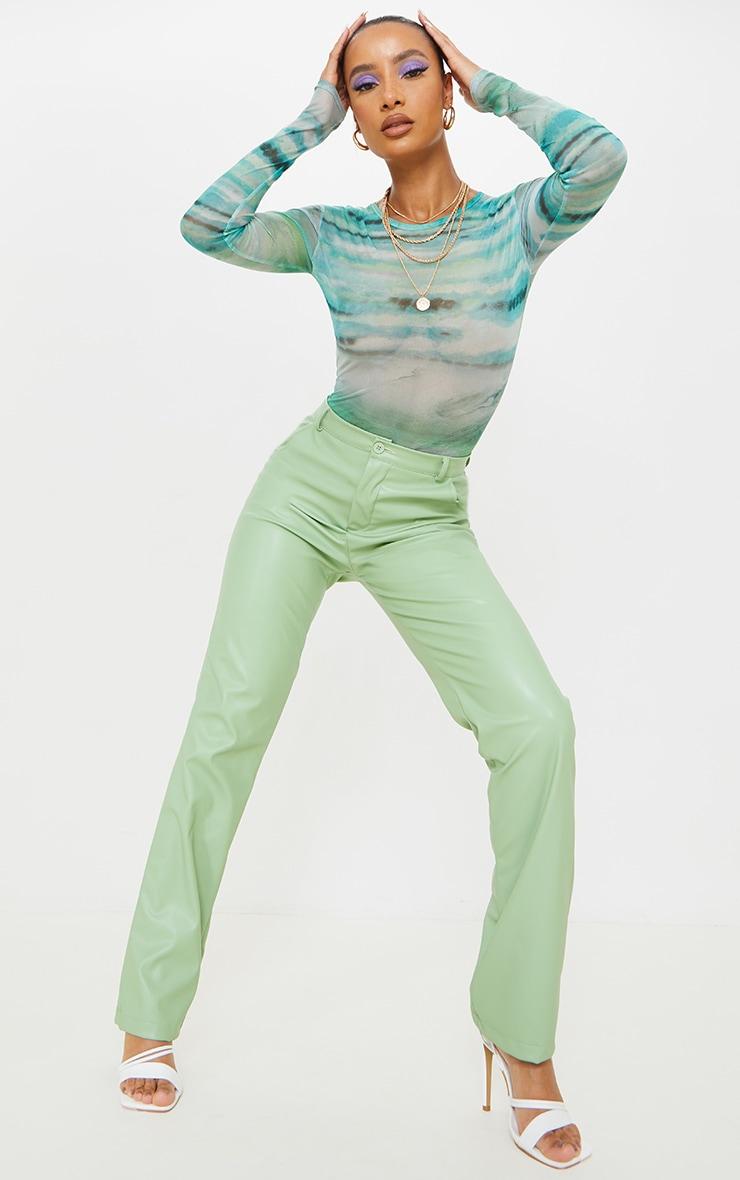 Blue Textured Stripe Printed Mesh Bodysuit 3