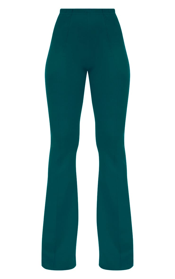 Forest Green High Waist Extreme Flare Long Leg Trousers 3
