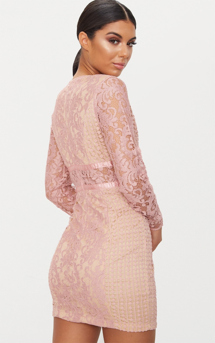 Dusty Pink Lace Panel Satin Piped Plunge Bodycon Dress 2
