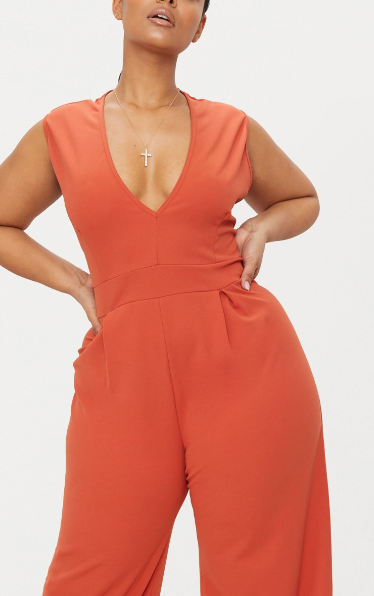 Plus Rust Plunge Wide Leg Jumpsuit 5