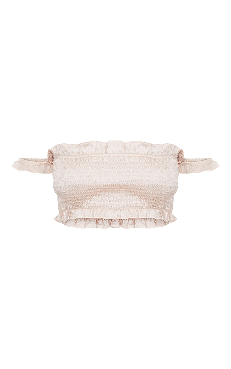 Blush Shirred Satin Bardot Crop Top  3