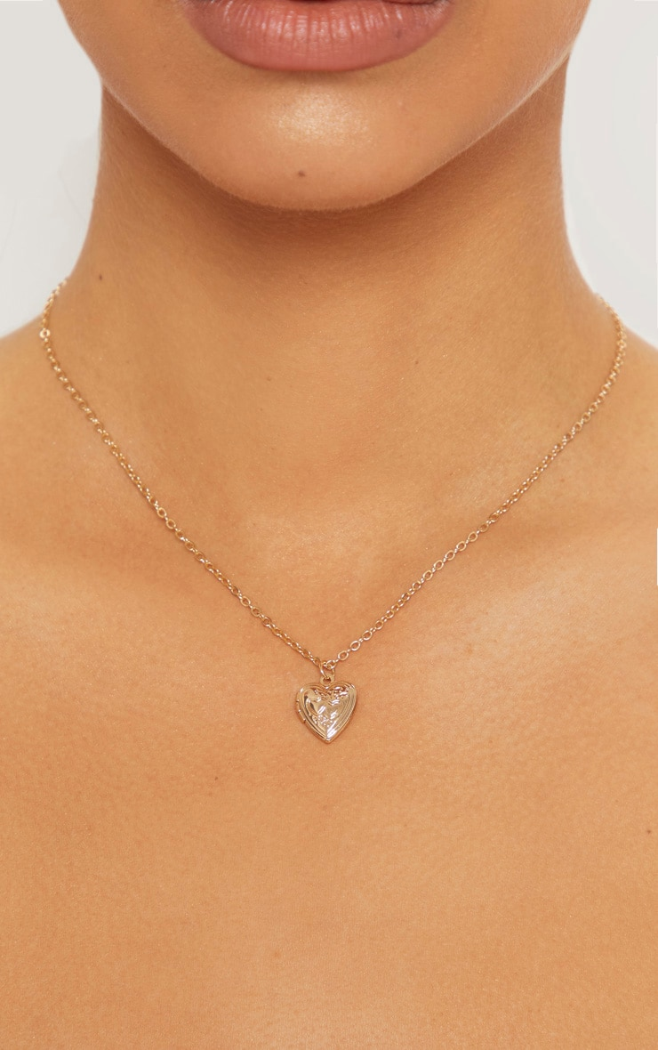 Gold Mini Heart Locket Necklace 1