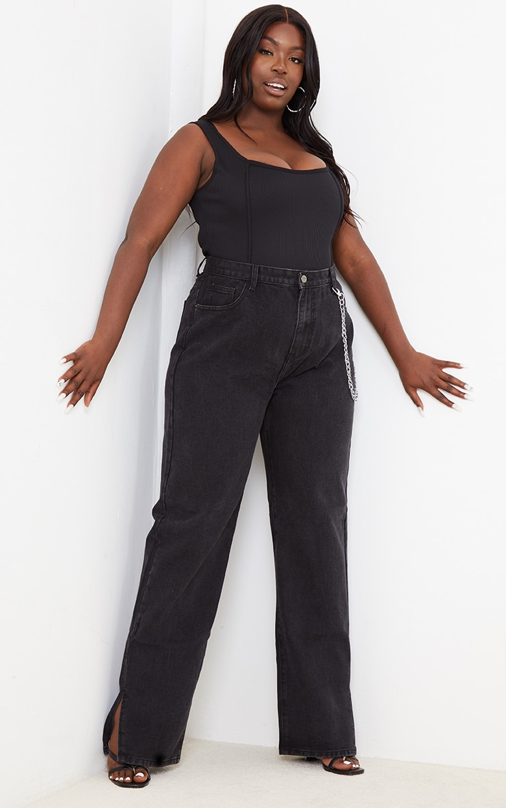 Plus Black Rib Seam Detail Bodysuit 3