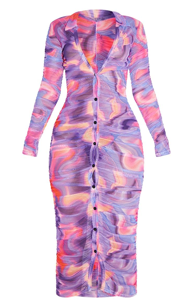 Petite Pink Hyper Squiggle Ruched Mesh Midi Dress 5