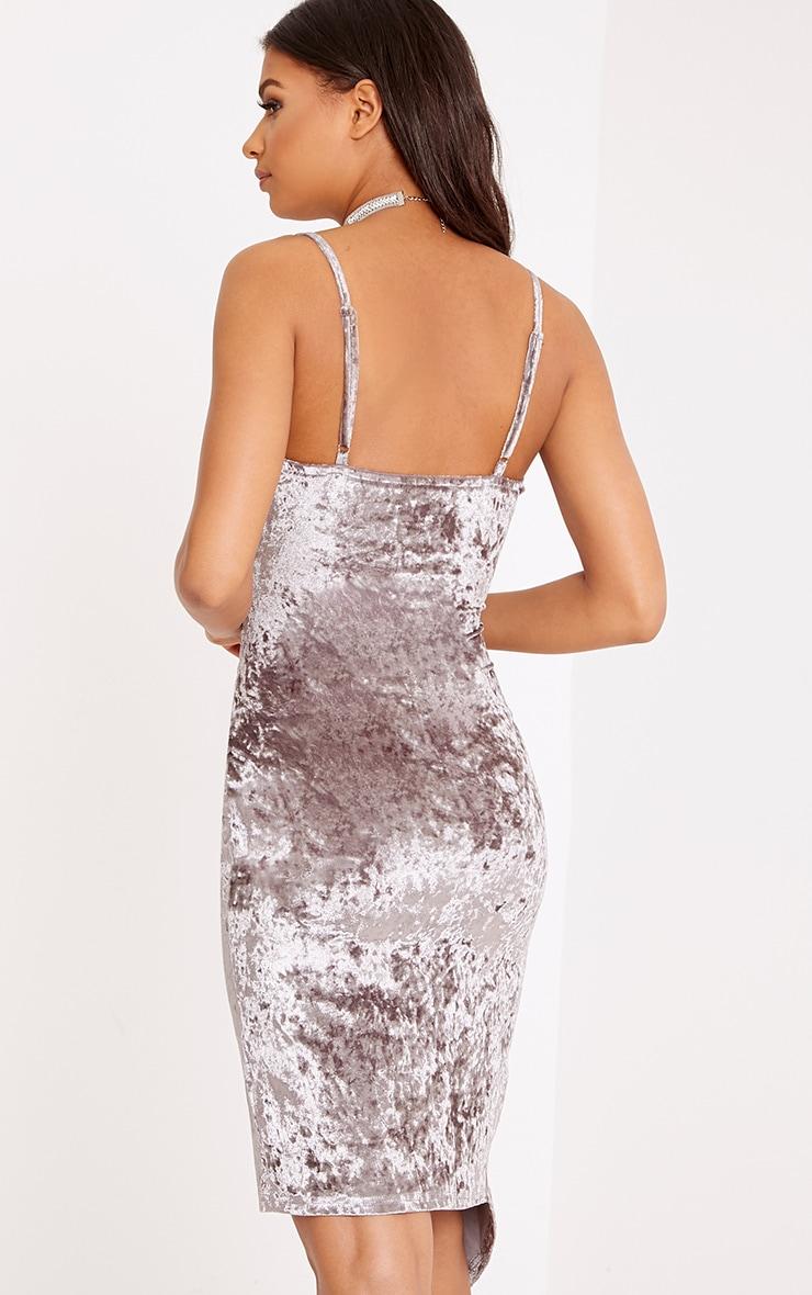 Prina Mink Crushed Velvet Strappy Wrap Over Midi Dress  2