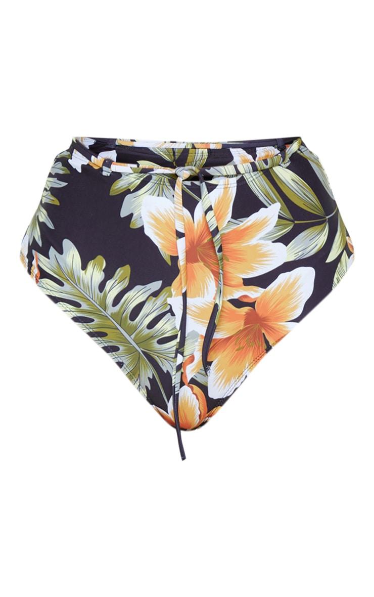 Black Floral High Waist Tie Belt Bikini Bottom 3