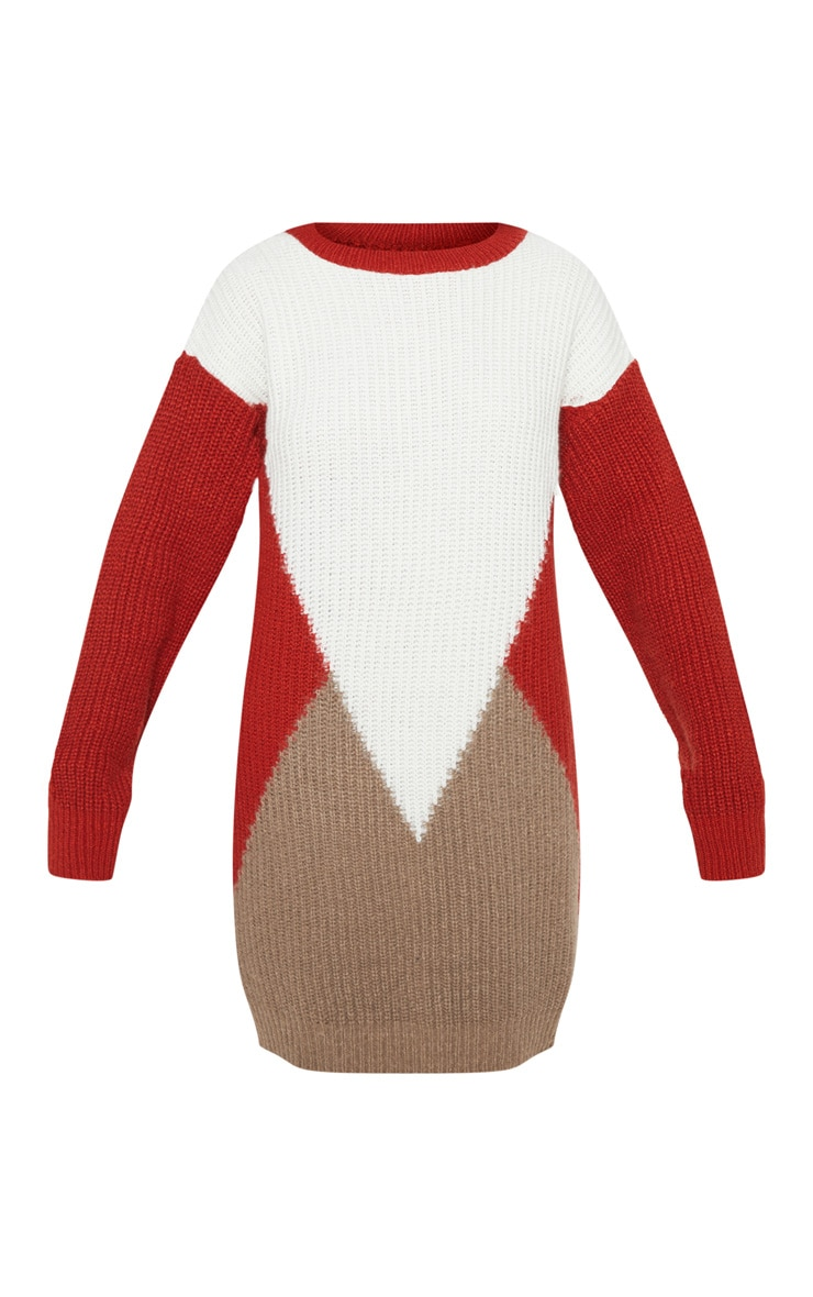 Cream Colour Block Knitted Jumper Dress 3