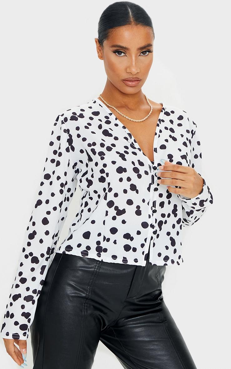 Black Woven Leopard Print Button Up Blouse 1
