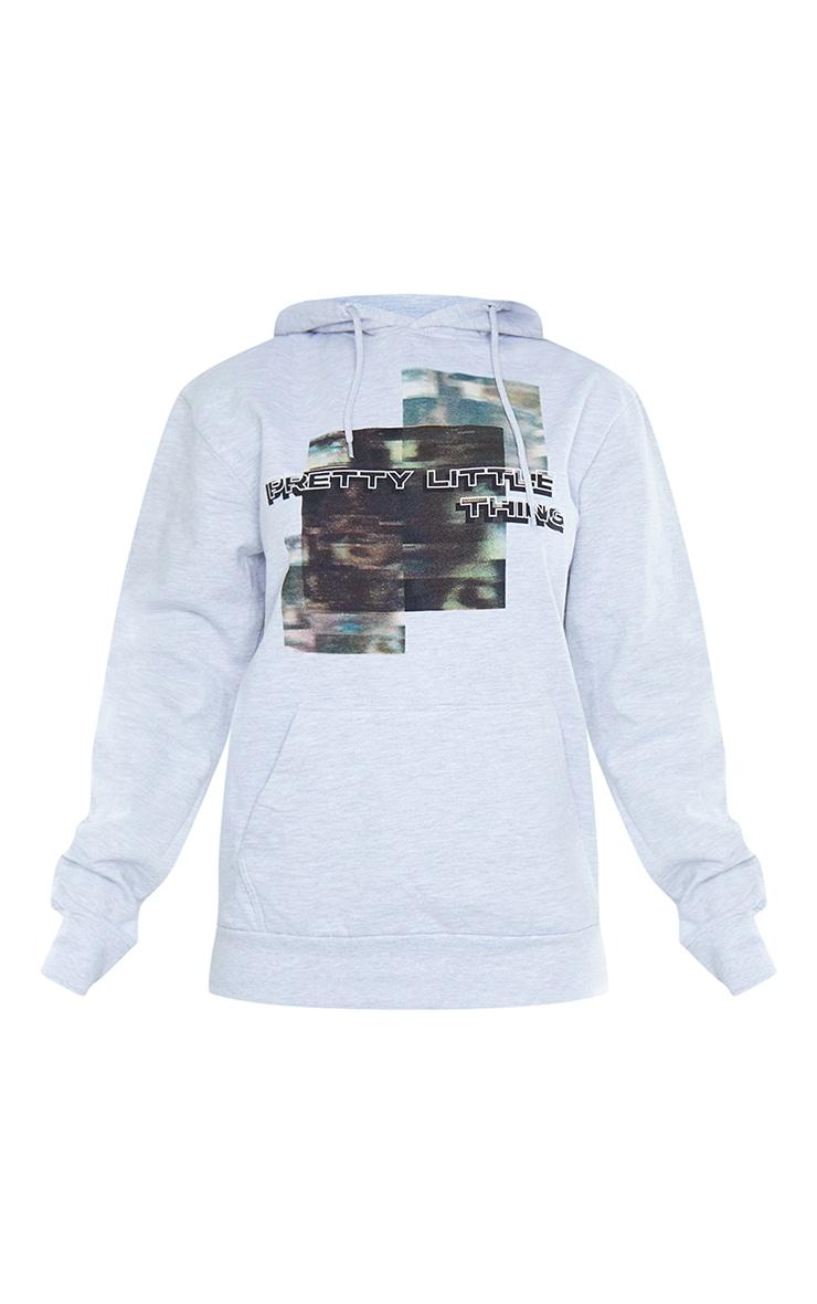 PRETTYLITTLETHING Grey Blurred Print Hoodie 5