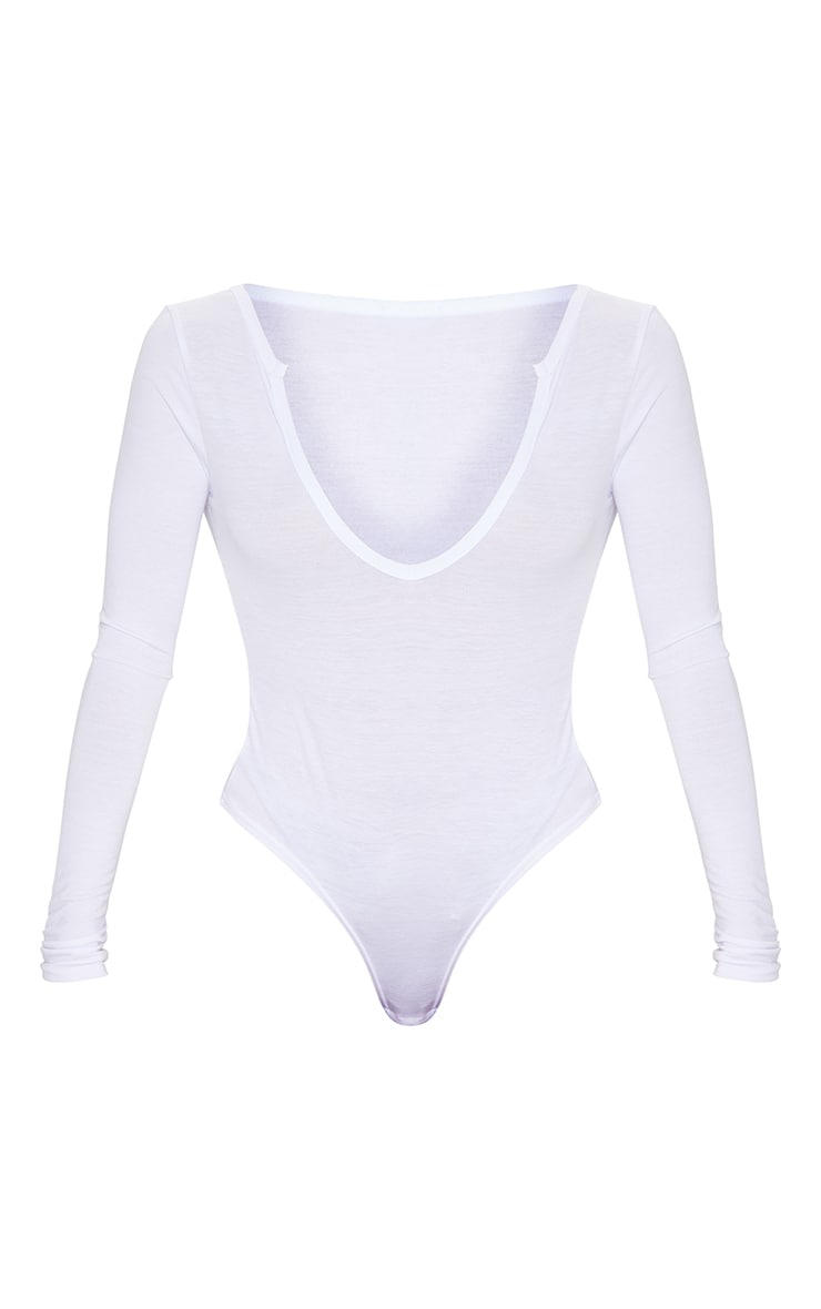 White Jersey V Neck Long Sleeve Thong Bodysuit  5