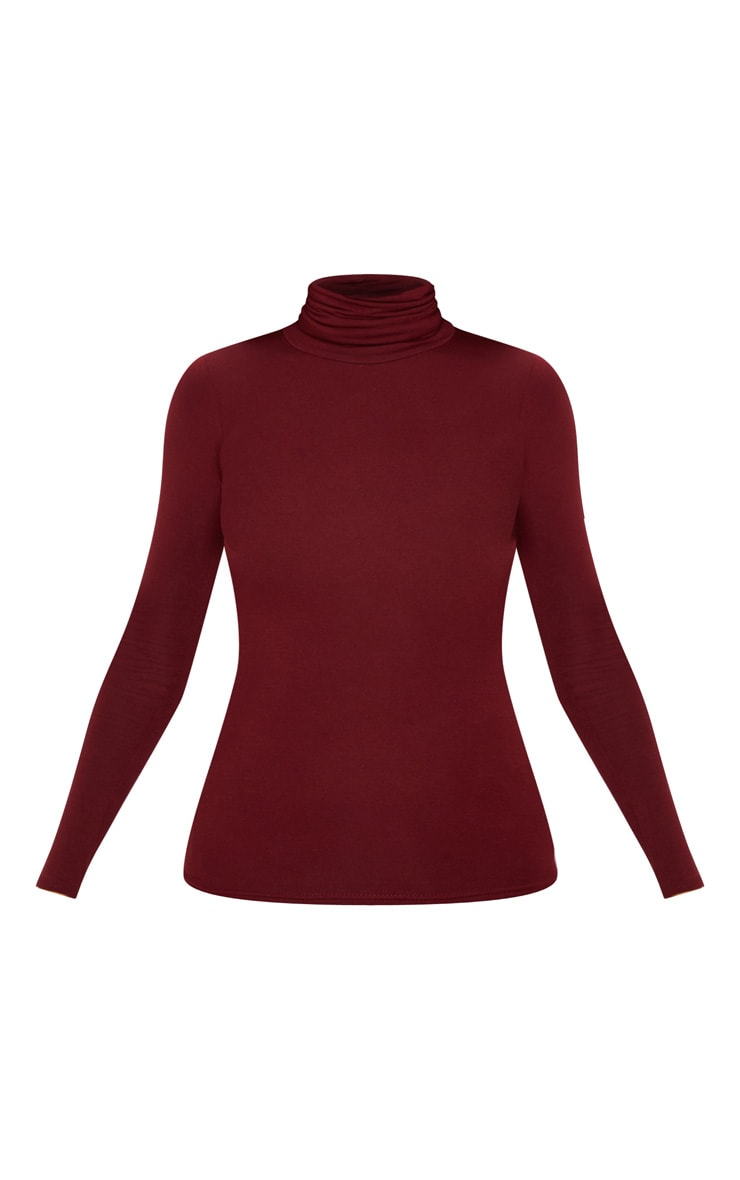 Basic Wine Long Sleeve Roll Neck Top 3