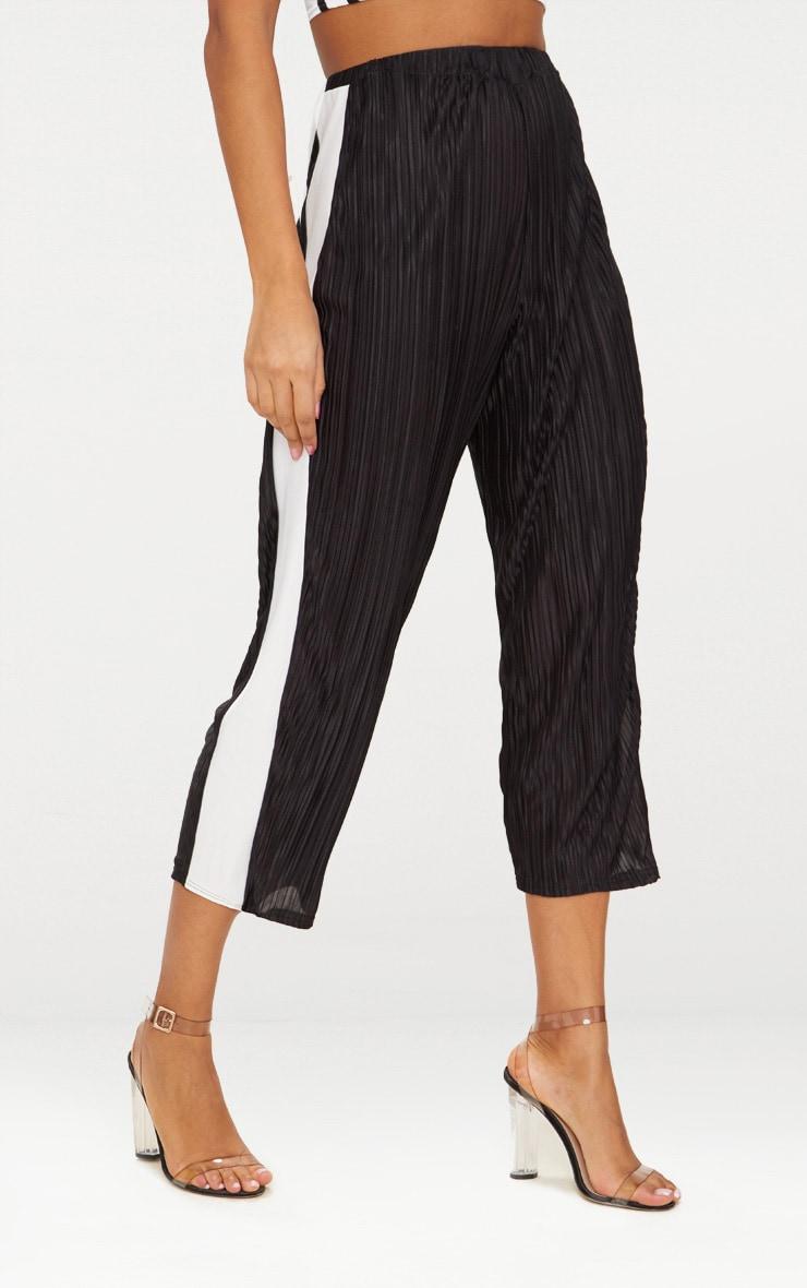 Black Contrast Stripe Plisse Culottes  2