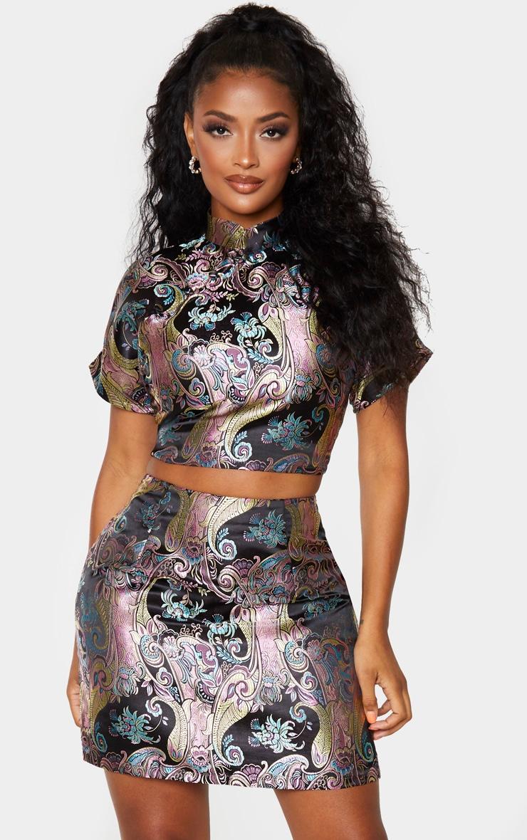 Shape Black Oriental Collar Detail Crop Top 1