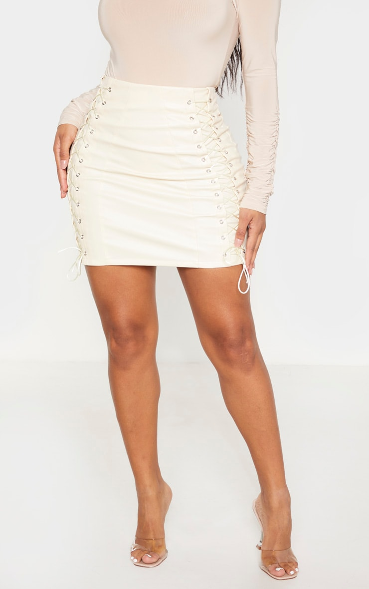Shape Cream PU Lace Up Bodycon Skirt 2