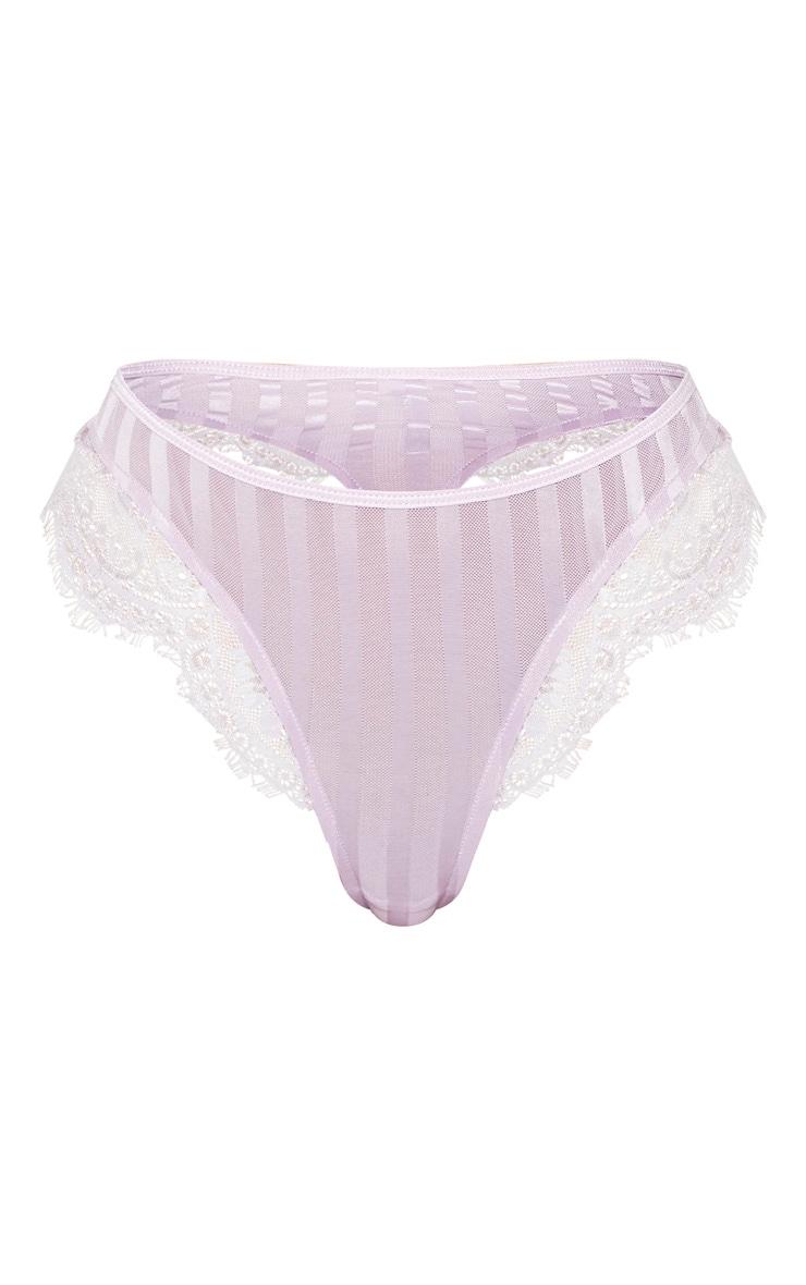 Lilac Striped Lace High Leg Thong 4