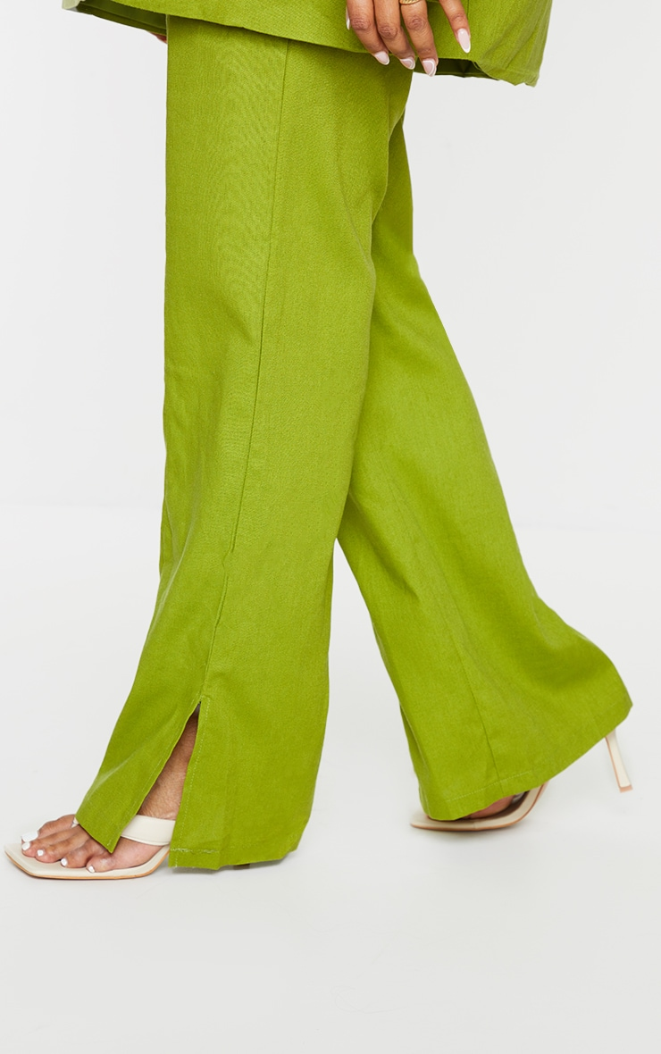 Plus Olive Linen Look Side Split Trousers 4