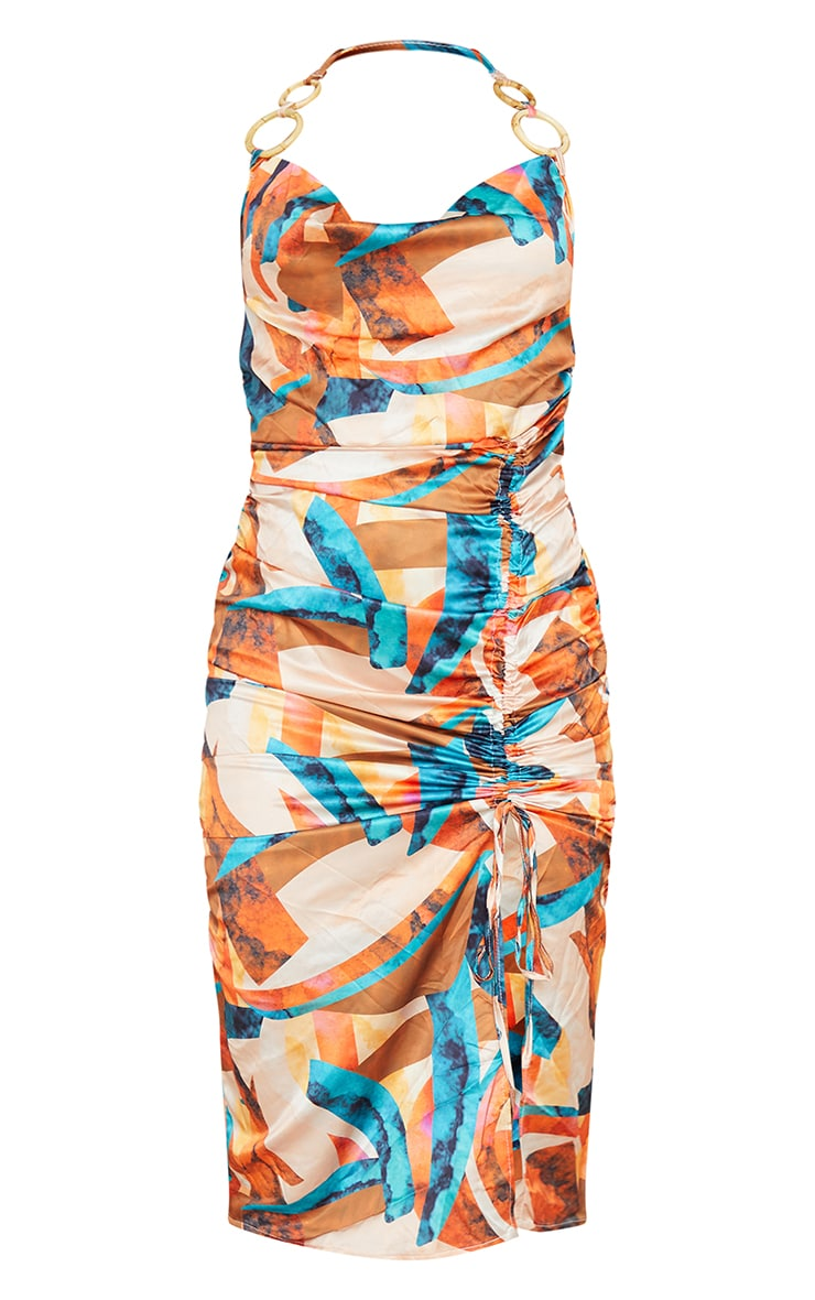 Multi Abstract Print Satin Halterneck Ring Detail Ruched Midi Dress 5