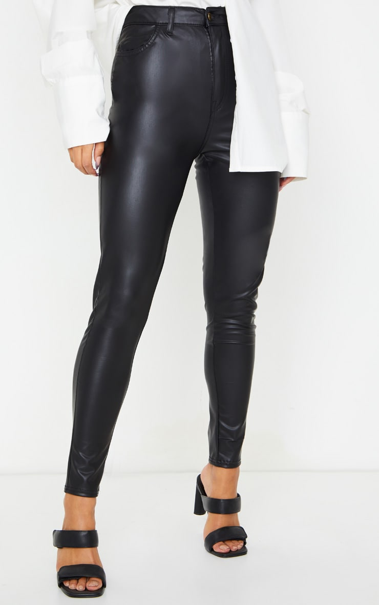 Black Button Up PU Skinny Pants 2