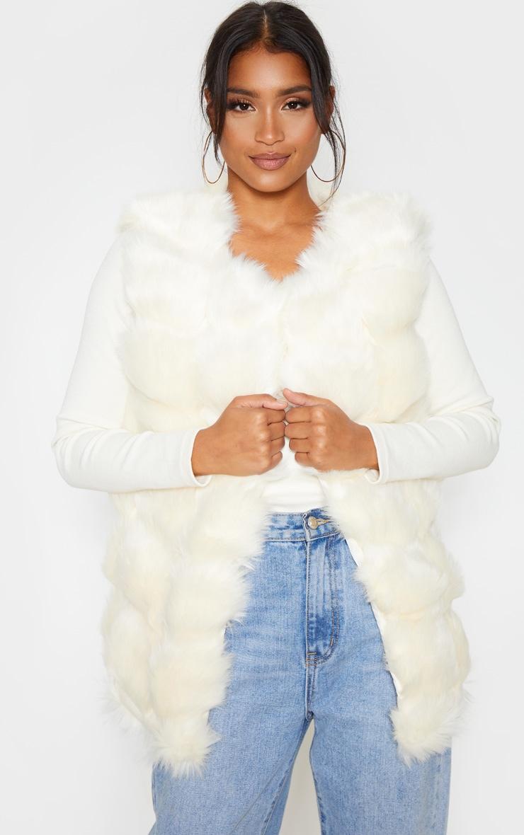 Cream Faux Fur Longline Gilet 1