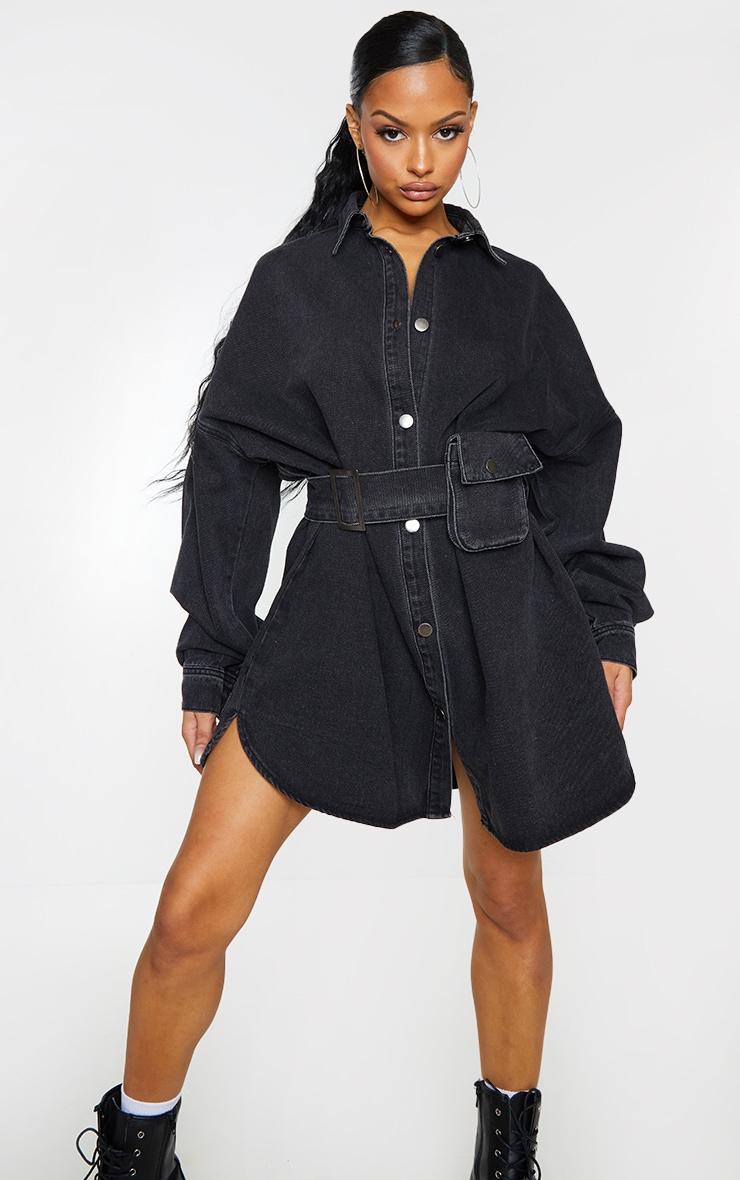 Washed Black Pocket Detail Off The Shoulder Oversized Denim Dress 1