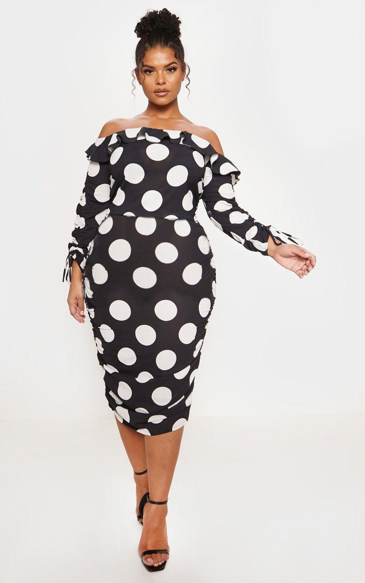 Plus Black Polka Dot Ruched Side Bardot Dress 1
