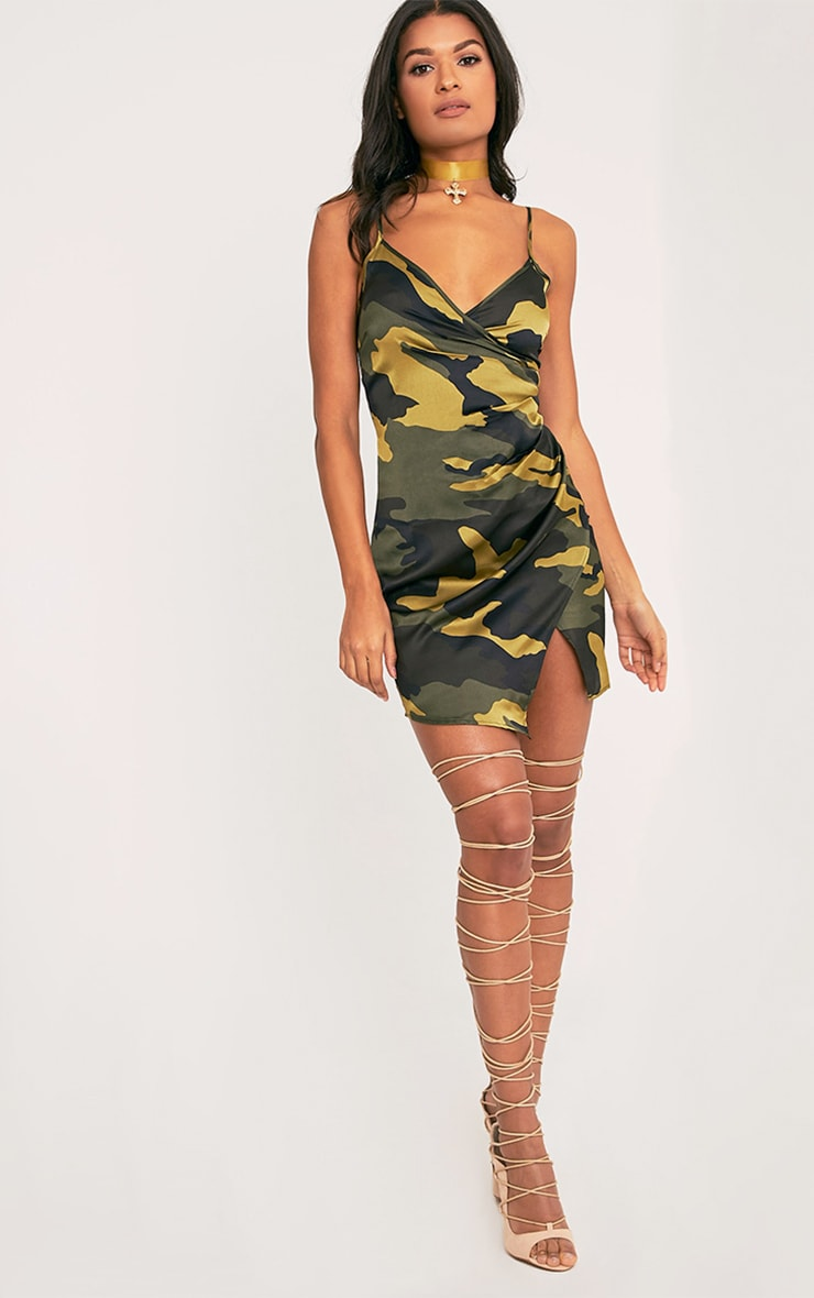 Lilly Khaki Camo Print Wrap Over Slip Dress 5