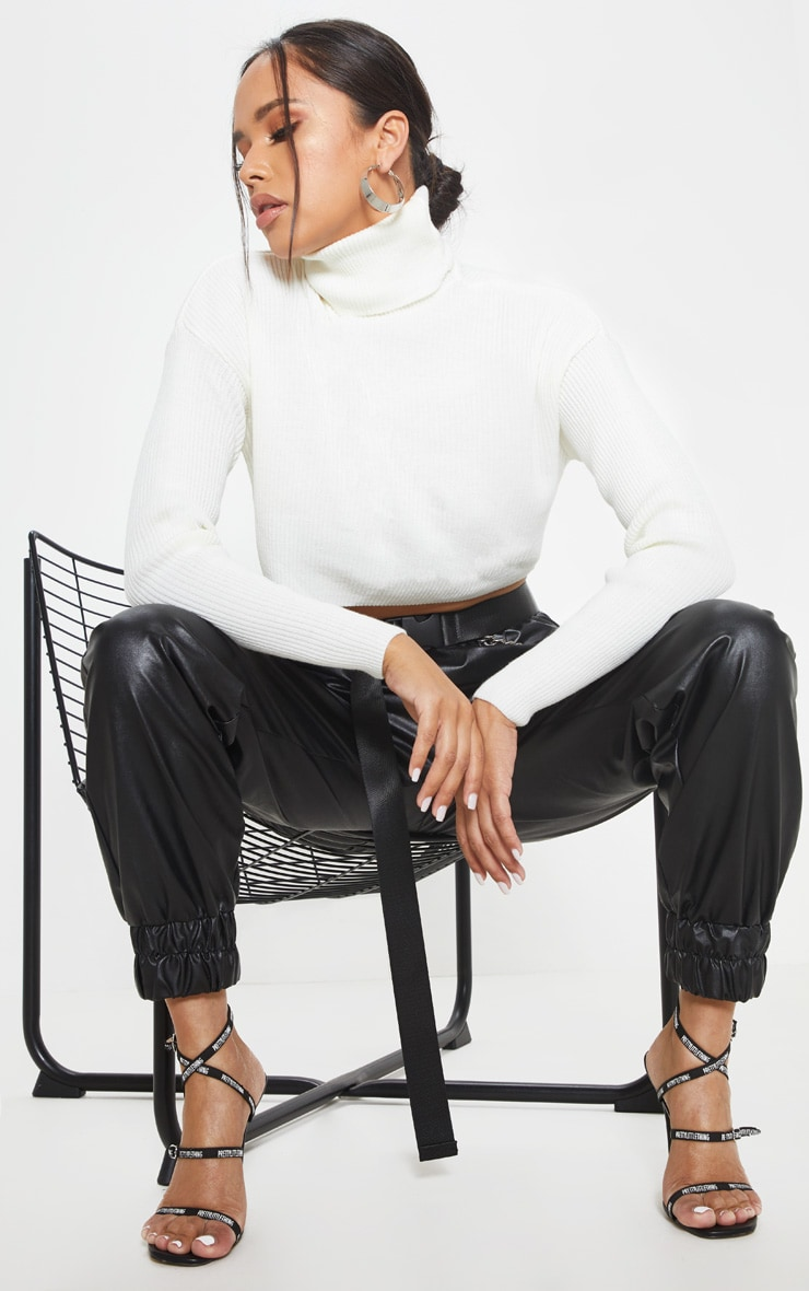 Cream Ribbed Cropped Roll Neck Sweater 4