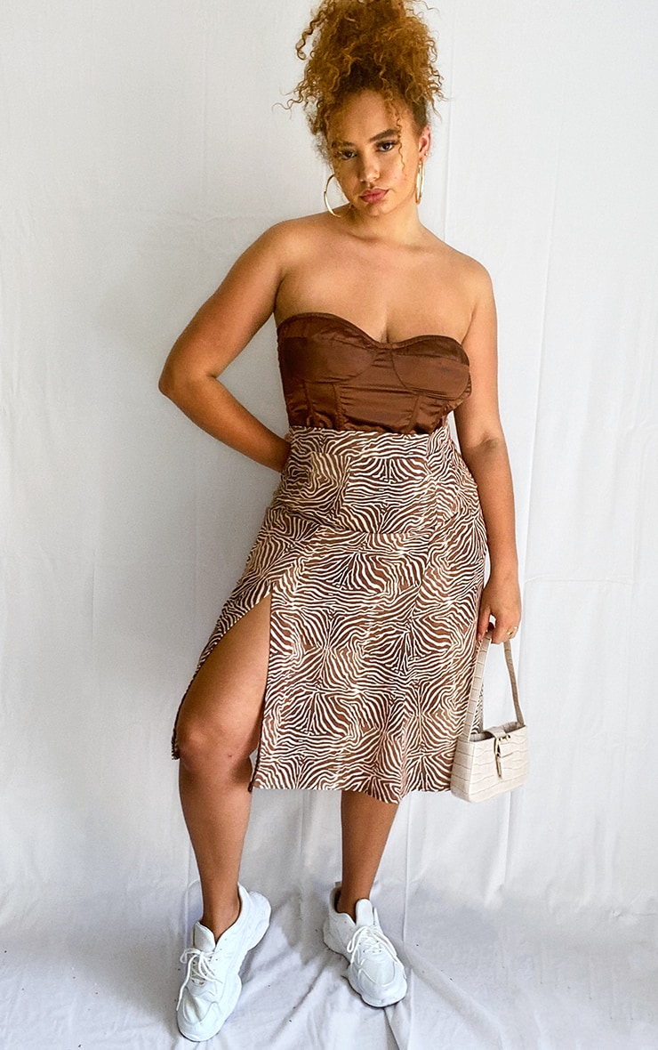 Plus Brown Zebra Print Floaty Midi Skirt 1