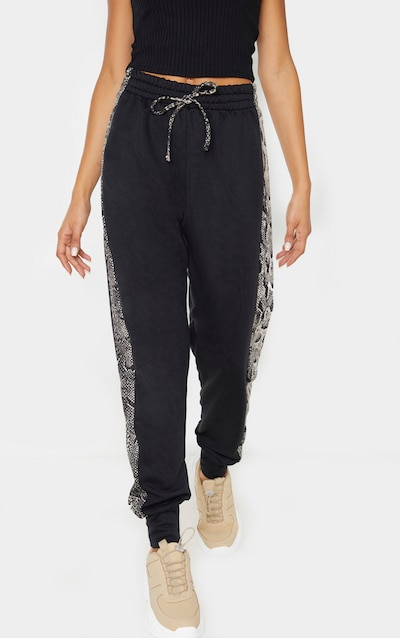 Black Contrast Snake Side Stripe Joggers