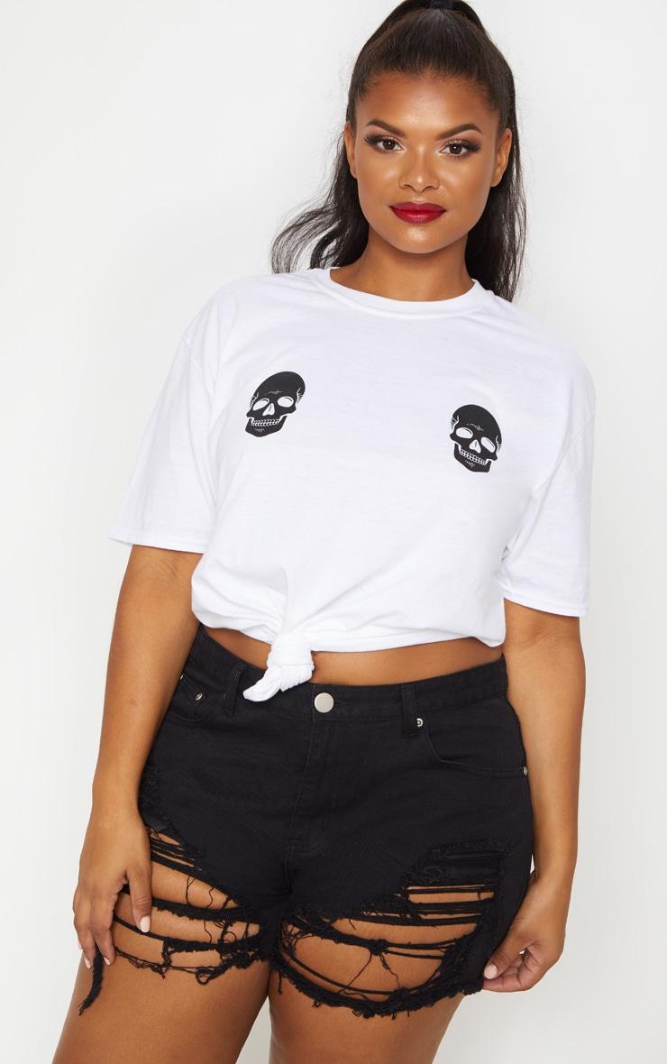 Plus White Skull T Shirt 1