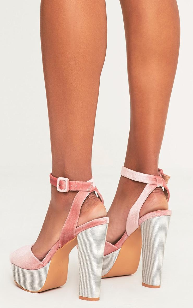 Dianne Pink Velvet Platform Heels 4