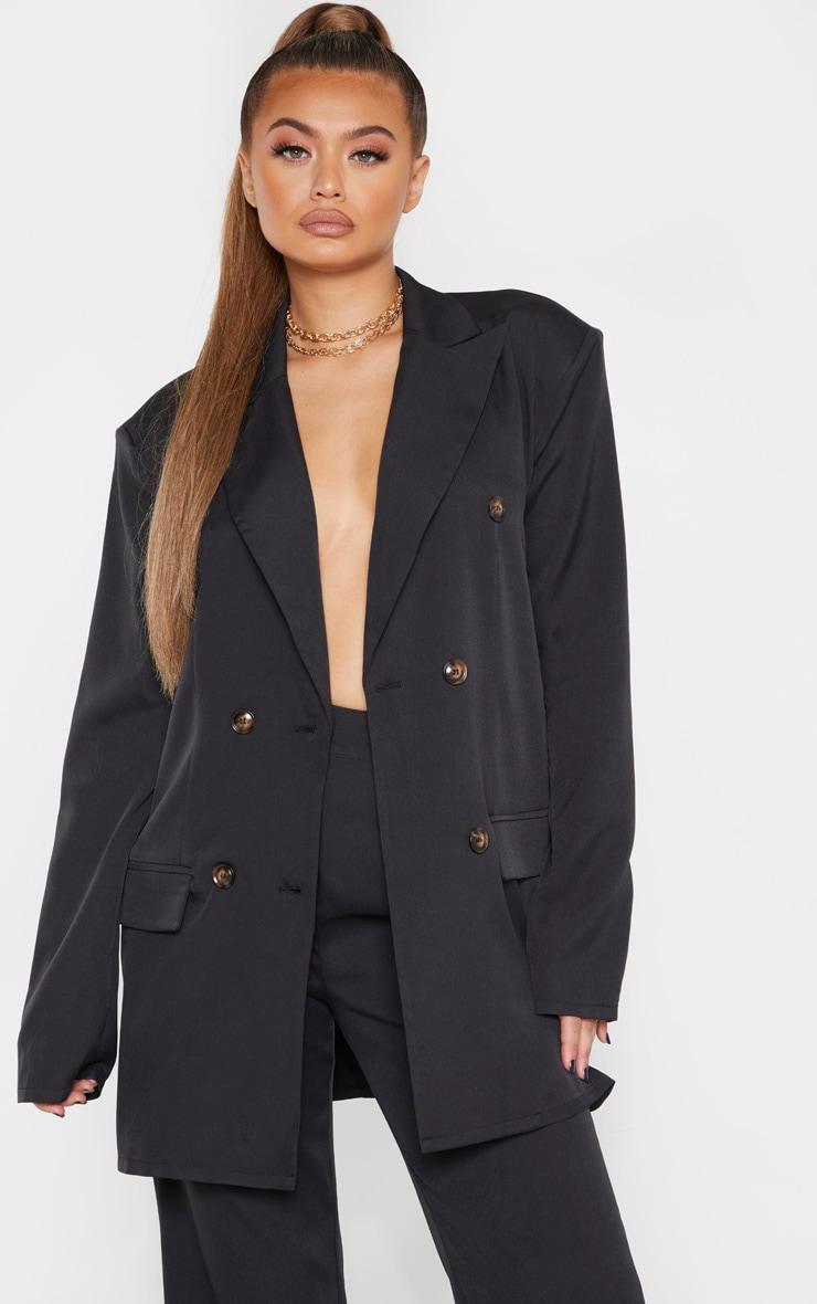 Black Woven Oversized Longline Button Detail Blazer 1