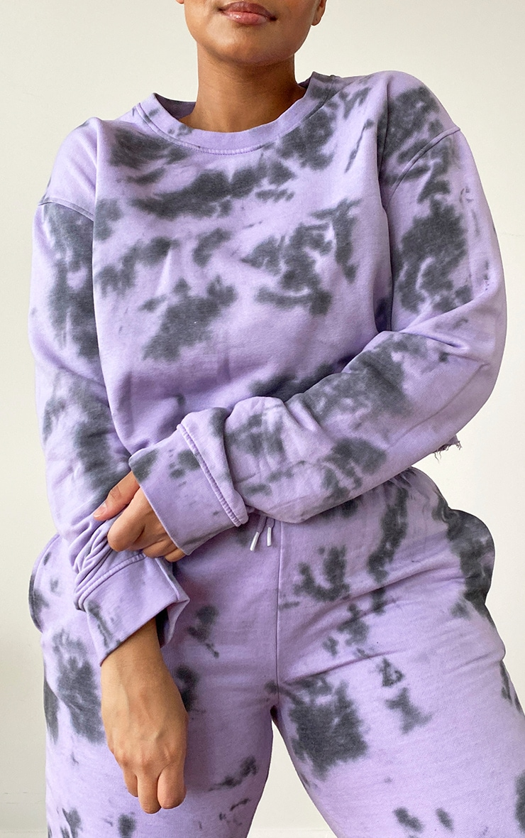 Plus Lilac Tie Dye Cropped Sweater 4